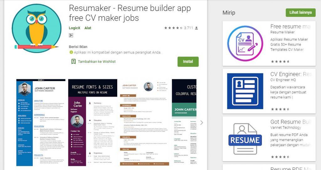 8 Aplikasi Untuk Membuat Cv Kerja Di Android Dan Pc Yang Paling Bagus Mamikos Info